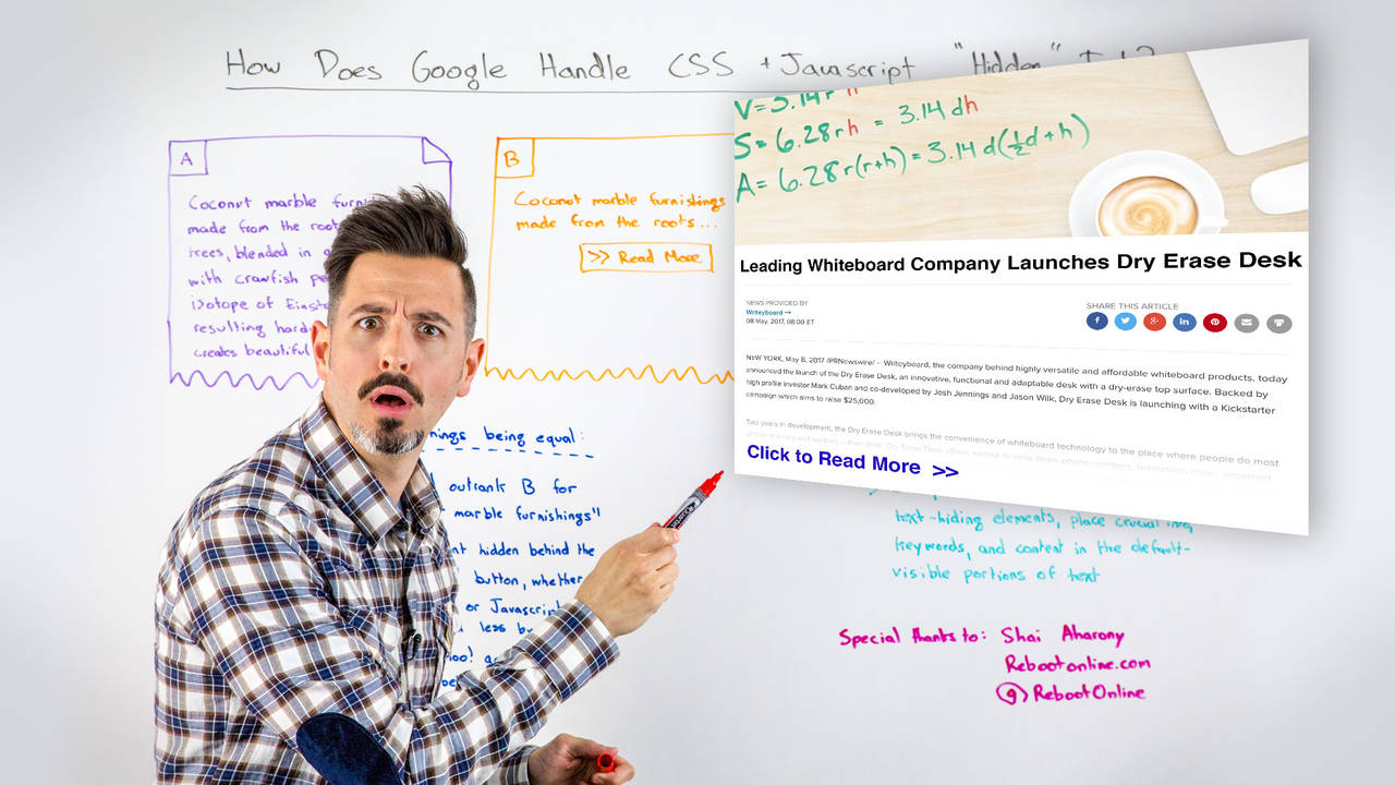 """How Does Google Handle CSS + Javascript """"Hidden"""" Text? – Whiteboard Friday"""