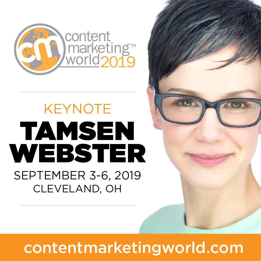 Tamsen Webster takes the Content Marketing World 2019 main stage