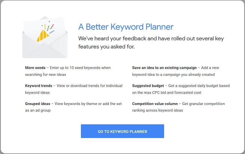 Google Ads Keyword Planner Gets an Upgrade